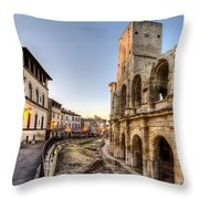 Arles Streets And Arena Throw Pillow