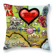 Arlington Texas Cartoon Map Throw Pillow