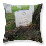 Arlington Tombstone Lodged In Tree Trunk Throw Pillow