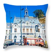 Armada De Chile In Valparaiso-chile  Throw Pillow