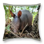 Armadillo In The Woods Throw Pillow