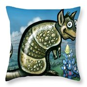 Armadillo N Bluebonnets Throw Pillow