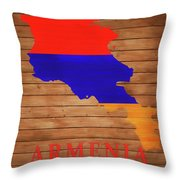Armenia Rustic Map On Wood Throw Pillow