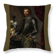 Armor With Blue And Gold Throw Pillow