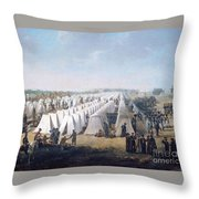 Army Camp In Rows  Throw Pillow