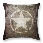 Army Star On Steel Throw Pillow