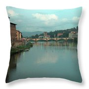 Arno River, Florence, Italy Throw Pillow by Mark Czerniec