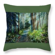 Around The Path Throw Pillow by Kerri Ligatich