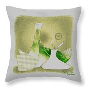 Arrangement In Green And Yellow Throw Pillow