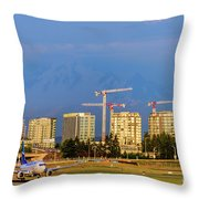 Arrival By Air Throw Pillow