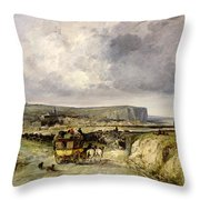 Arrival Of A Stagecoach At Treport Throw Pillow
