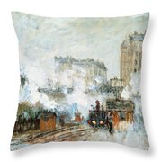 Arrival Of A Train Throw Pillow