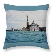 Arriving In Venice Throw Pillow
