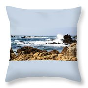 Arriving Tide At Pebble Beach Throw Pillow