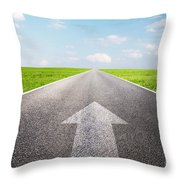 Arrow Sign Pointing Forward On Long Empty Straight Road Throw Pillow