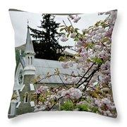 Arrowtown Church On A Rainy Day, New Zealand Throw Pillow