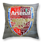 Arsenal Football Team Emblem Recycled Vintage Colorful License Plate Art Throw Pillow