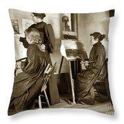 Art Class Oil Painting Teacher  And Art Students 1900 Throw Pillow