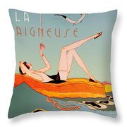 Art Deco Beach Bather Throw Pillow