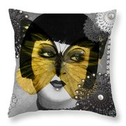 Art Deco Butterfly Woman Throw Pillow
