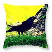 Art Deco Grackle Throw Pillow