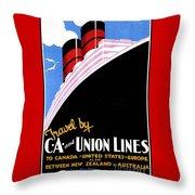 Art Deco Ocean Travel New Zealand Throw Pillow