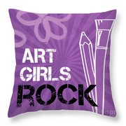 Art Girls Rock Throw Pillow by Linda Woods