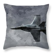 Art In Flight F-18 Fighter Throw Pillow by Aaron Lee Berg