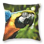 Art In Moku Hanga Style Throw Pillow