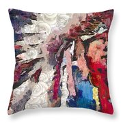 Art Indian Chief Pearlesques In Fragments  Throw Pillow