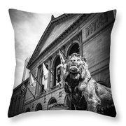 Art Institute Of Chicago Lion Statue In Black And White Throw Pillow