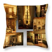 Art Institute Of Chicago Miniature Room Collage Textured Throw Pillow