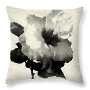 Art Is The Hibiscus -black And White Throw Pillow