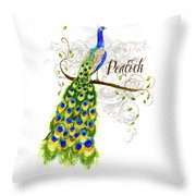 Art Nouveau Peacock W Swirl Tree Branch And Scrolls Throw Pillow