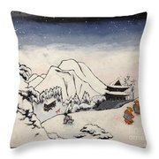 Art Of Buddhism And Shintoism And Two Paths In The Snow Throw Pillow