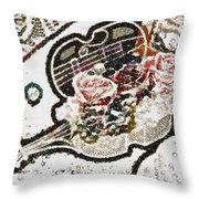 Art Violin And Roses Pearlesqued In Fragments  Throw Pillow