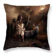 Artemis Goddess Of The Hunt Throw Pillow