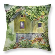 Artful Birdhouse Throw Pillow