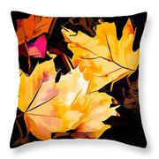 Artful Maple Leaves Throw Pillow