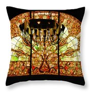 Artful Stained Glass Window Union Station Hotel Nashville Throw Pillow