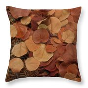 Artfully Scattered Sea Grape Leaves Throw Pillow
