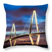Arthur Ravenel Bridge At Night Throw Pillow