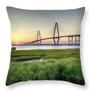 Arthur Ravenel Bridge Sunset Throw Pillow