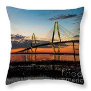 Arthur Ravenel Bridge Twilight Throw Pillow