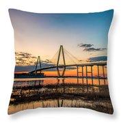 Arthur Ravenel Jr. Bridge At Dusk Throw Pillow