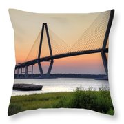 Arthur Ravenel Jr. Bridge Sunset Throw Pillow