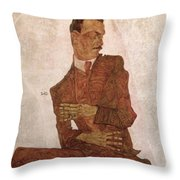 Arthur Roessler Throw Pillow by Egon Schiele