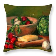 Artichoke And Radishes Throw Pillow