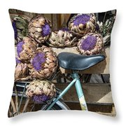 Artichoke Flowers With Bicycle Throw Pillow