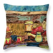 Artisan Market La Mariscal In Quito  Throw Pillow